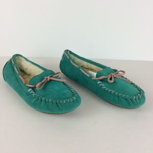 Aeropostale Faux Fur Lined Moccasin Slippers Sz 10